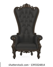 Black Throne Chair Isolated. 3D rendering