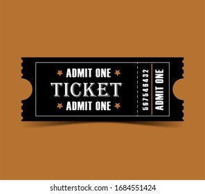 Black ticket for one person on a colored background