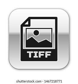 Black TIFF file document icon. Download tiff button icon isolated on white background. TIFF file symbol. Silver square button