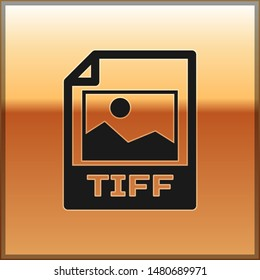 Black TIFF file document icon. Download tiff button icon isolated on gold background. TIFF file symbol