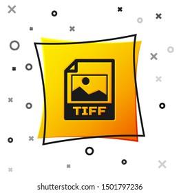Black TIFF file document icon. Download tiff button icon isolated on white background. TIFF file symbol. Yellow square button
