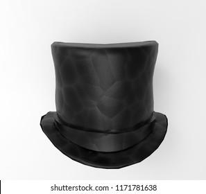 Black top hat, 3D rendering