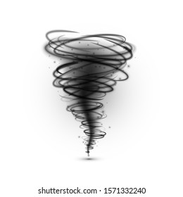 Black tornado. Hurricane extreme weather condition. illustration isolated on a white background