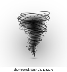 Black tornado. Hurricane extreme weather condition. illustration isolated on a white