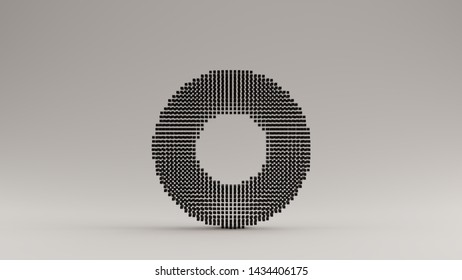 Black Torus Donut Made out of Lots of Small Cubes with a Visual Aliasing Stroboscopic Effect 3d illustration 3d render