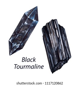 Black Tourmaline. Watercolor gems. Root chakra stones and healing crystals