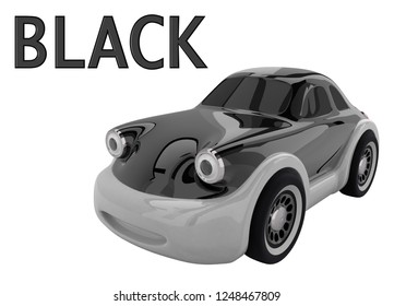 Black toy car and an inscription with the name of the color. Isolated on white background. 3D render