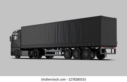 Black Trailer Truck Back view. 3D rendering