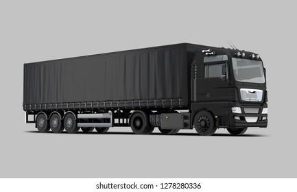 Black Trailer Truck Perspective view. 3D rendering
