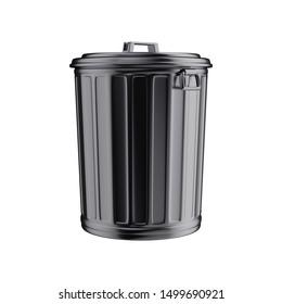 Black trash can isolated on white background. Minimal design art. 3d illustration.