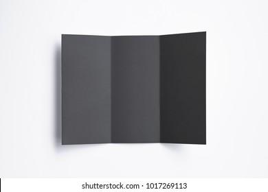 Black Tri fold brochure isolated on white. 3d illustration for your design presentation.