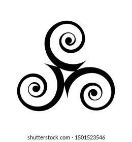 Black triple spirals - traditional celtic symbol in modern style isolated on white background.