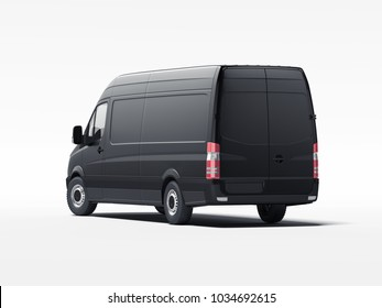 Black truck with blank walls ready for advertisment. 3d rendering