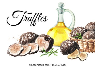 Black truffles mushrooms card, Watercolor hand drawn illustration  isolated on white background