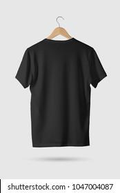 Black T-Shirt Mock-up on wooden hanger, rear side view. 3D Rendering.