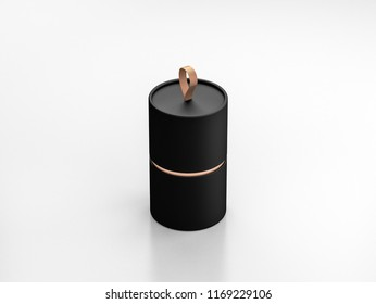 Black Tube Tin can Mockup, cylindrical Packaging with golden loop, 3d rendering