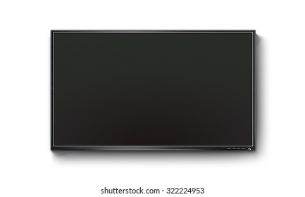 Black TV flat screen, plasma realistic illustration, tv mock up on the wall. Black HD led monitor mockup. Flatscreen panel stand isolated on white background. Show presentation on flat display set.