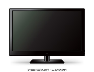 Black TV icon template with shadow on white background. Television LED display screen. Flat media technology eletronic equipment. LCD computer monitor
