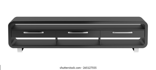 Black tv stand isolated on white background