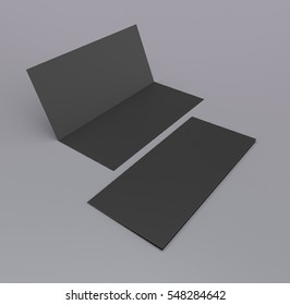 black two-leaf leaflets on gray background. 3D rendering
