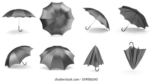 Black umbrellas and parasols in various positions open and folded collection. 3d rendering