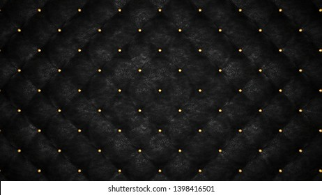 Black upholstery. Leather background. Capitone. High resolution.