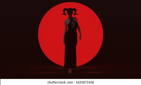 Black Vampire Devil Woman Walking in a Pant Suite with a Horned Head Dress Abstract Demon Front View 3d Illustration 3d render