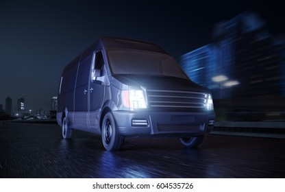 Black Van on City Street Motion Blurred 3d Illustration Concept