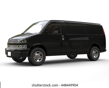 Black van - side view - isolated on white background - 3D illustration