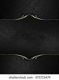 Black velvet frame with gold. Element for design. Template for design. copy space for ad brochure or announcement invitation, abstract background.