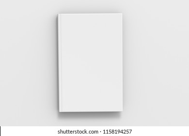 Black vertical blank book cover mockup on white background with clipping path around book. 3d illustration