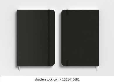 Black vertical notebook with elastic band on white background. Front and back cover. 3d illustration
