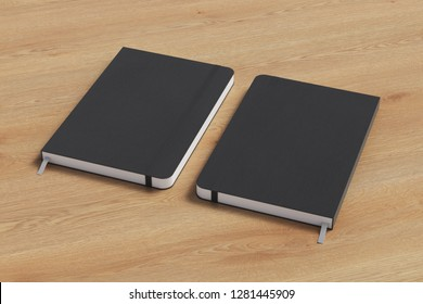 Black vertical notebook with elastic band on wooden background. Front and back cover. 3d illustration