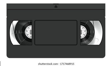 Black VHS Casette Tape Illustration