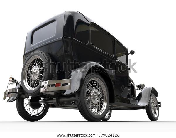 Black vintage car - rear wheel shot - 3D Render