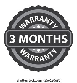 black vintage, retro 3 months warranty sticker, badge, icon, stamp, label, banner, sign isolated on white