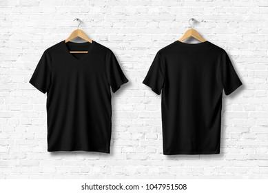 Black V-Neck Shirt Mock-up on wooden hanger, front and rear side view. 3D Rendering.