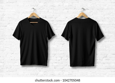 Black V-Neck T-Shirts Mock-up hanging on white wall. Front and rear side view. Ready to replace your design. 3D rendering.