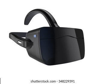 Black VR headset isolated on white background. 3D rendering image with clipping path. Original design.