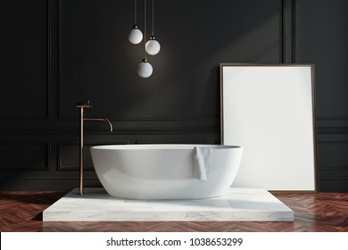 Black wall bathroom interior with a dark wooden floor, a white tub and a framed vertical poster near the wall. 3d rendering mock up