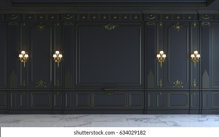 Black wall panels in classical style with gilding and sconces. 3d rendering