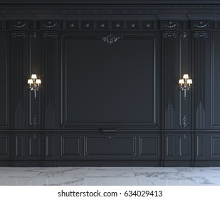 Black wall panels in classical style with silvering and sconces. 3d rendering