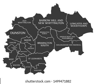 Black wards map of Chesterfield district in East Midlands England UK with labels