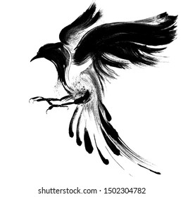 Black watercolor graphic hand drawn flying bird 27