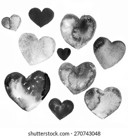 Black watercolor hearts isolated on white background. Valentines day set. Hand painting aquarelle. Red, yellow, orange love hearts.