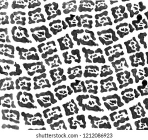 Black watercolor painted jaguar pattern. Wildlife print. Animal fur design. Snow leopard spots. Hand drawn camouflage isolated on white background.