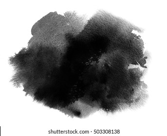 Black watercolor stain with watercolor paint wash and brush stroke