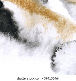 Black watercolor texture with gold. Abstract background gilding. Hand painted gray watercolour wash. Golden gradient. Dark backdrop stains, spots.