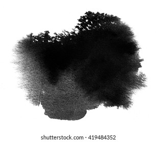 Black watercolor wet stain swatch with watercolour paint blotch, smudge and brush stroke