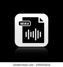 Black WAV file document. Download wav button icon isolated on black background. WAV waveform audio file format for digital audio riff files. Silver square button.